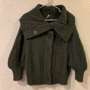 Free people snap button cowl neck cardigan